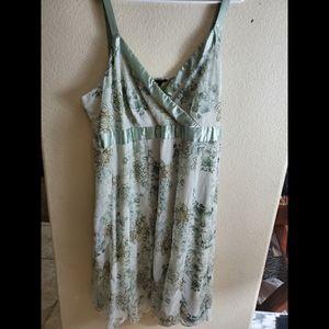 Avenue Green Floral Sleeveless Chiffon Dress